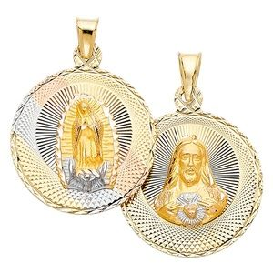 Jewelry - 14K Large Jesus and Virgin Mary Pendant